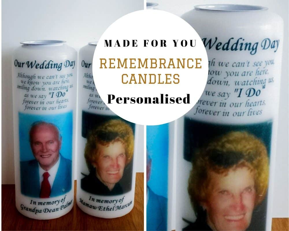 Wedding Remembrance candle with photo