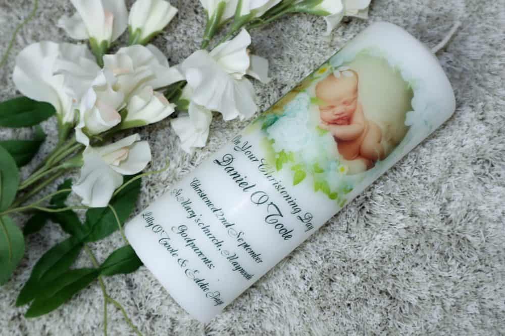 Christening candle or set, Teddy Bear design