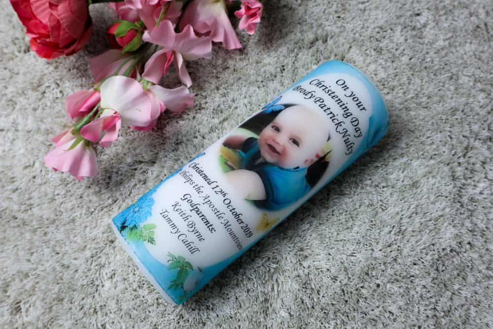 Christening photo candles spring design