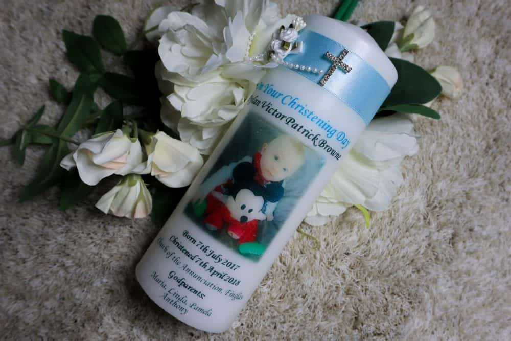 Personalised Christening candle – Cross & Flowers