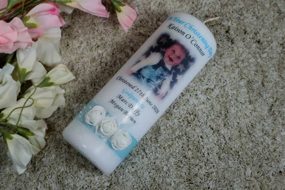 Christening candle – Ribbon & Roses
