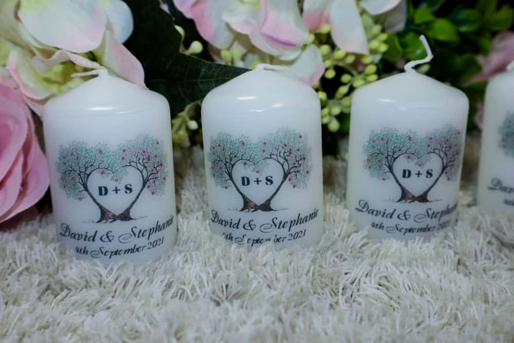 Love tree Wedding Thank You Favour candles