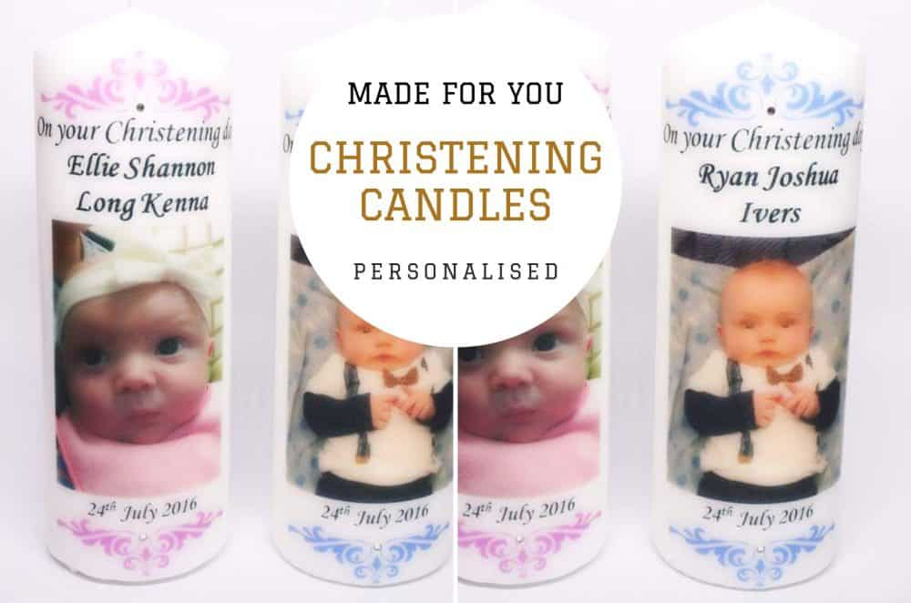 Christening candle with bling. Boys and Girls design