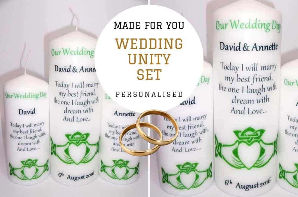 Celtic Wedding candles. Claddagh Unity set