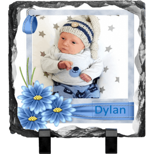 Baby Rock photo slate with flower frame