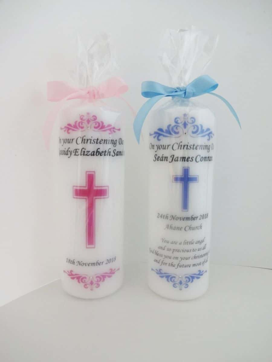 Christening candle – Cross design – Without photo