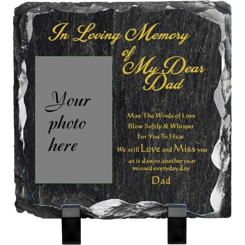 Memorial rock photo slate - Black stone background & Gold writing