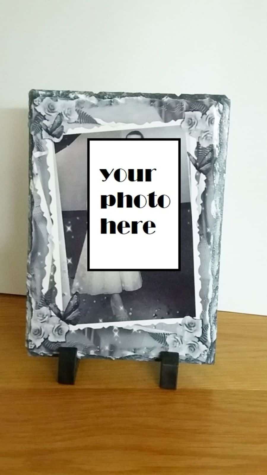 Rock photo slate with your own photo with frame