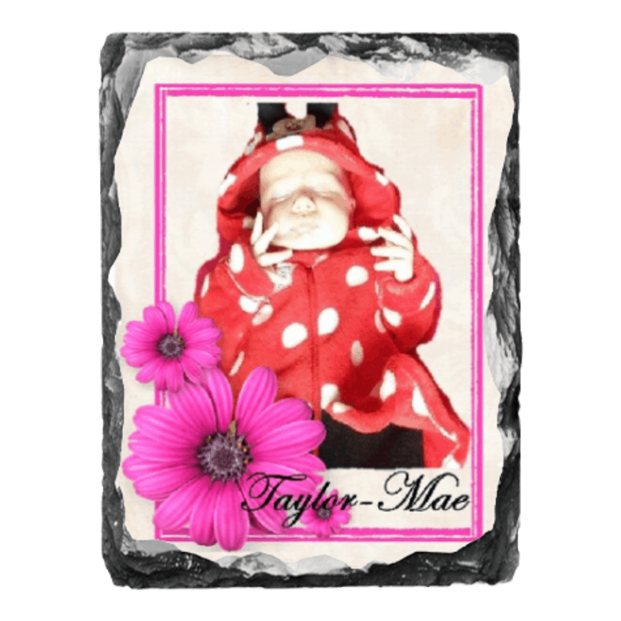 Rock photo slate with your own photo, flower background