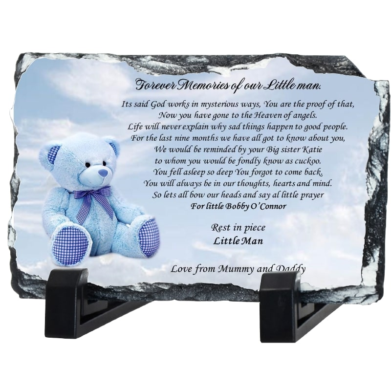 Baby remembrance slate – Teddy bear
