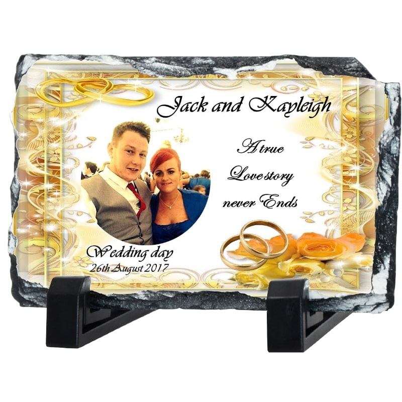 Gold wedding Rock photo slate – Rings