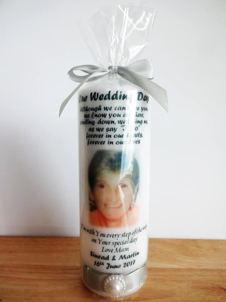 Wedding remembrance candle with photo and ribbon bow