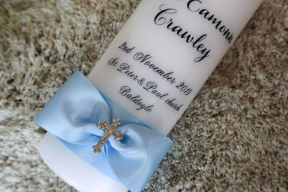 Christening candle with photo or without - cross design 1
