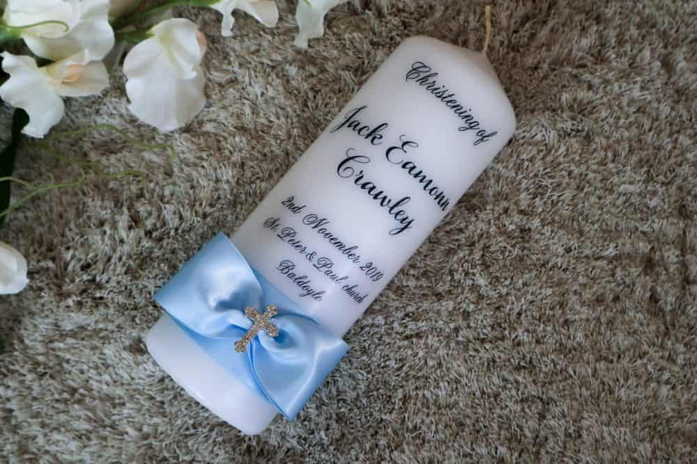 Christening candle with photo or without - cross design