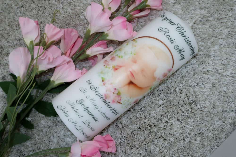 Christening candle – Cherry Blossom