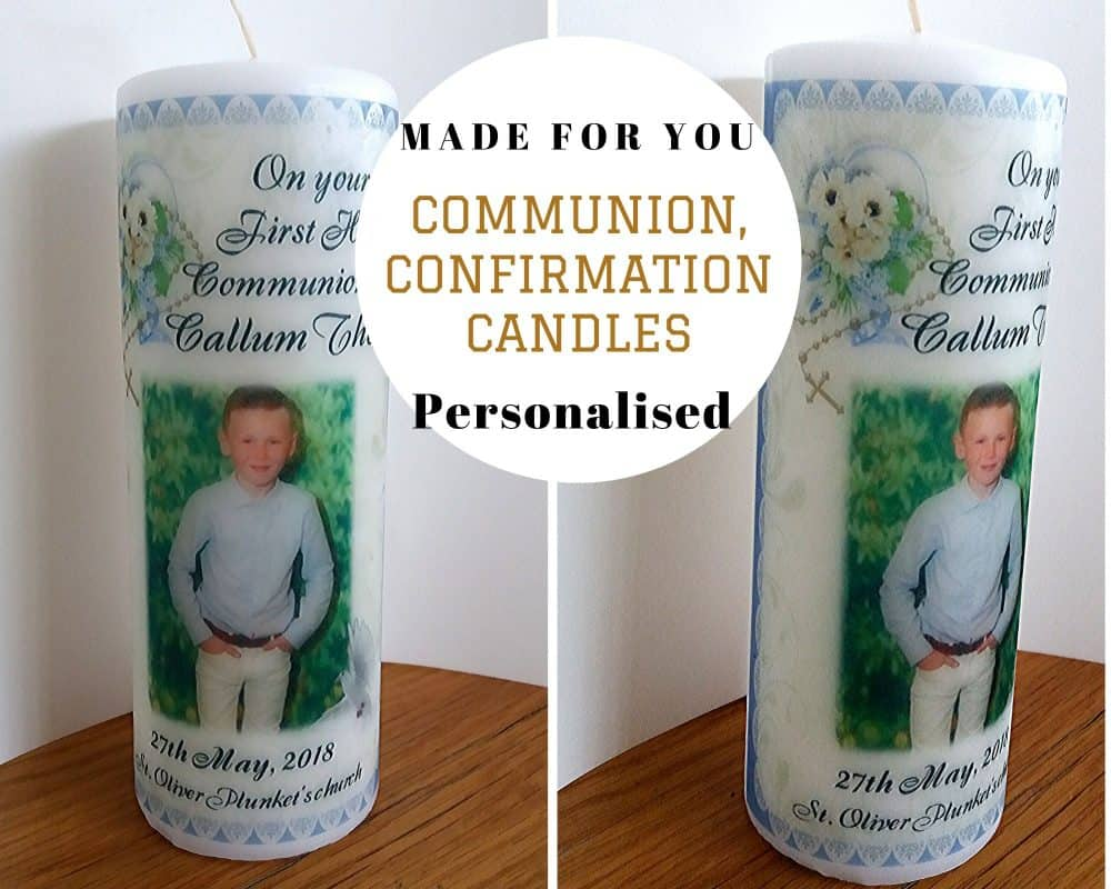 Communion and Confirmation candle with Rosary beads