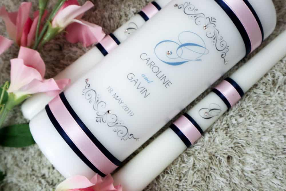 Monogrammed Wedding candles – Ribbon design
