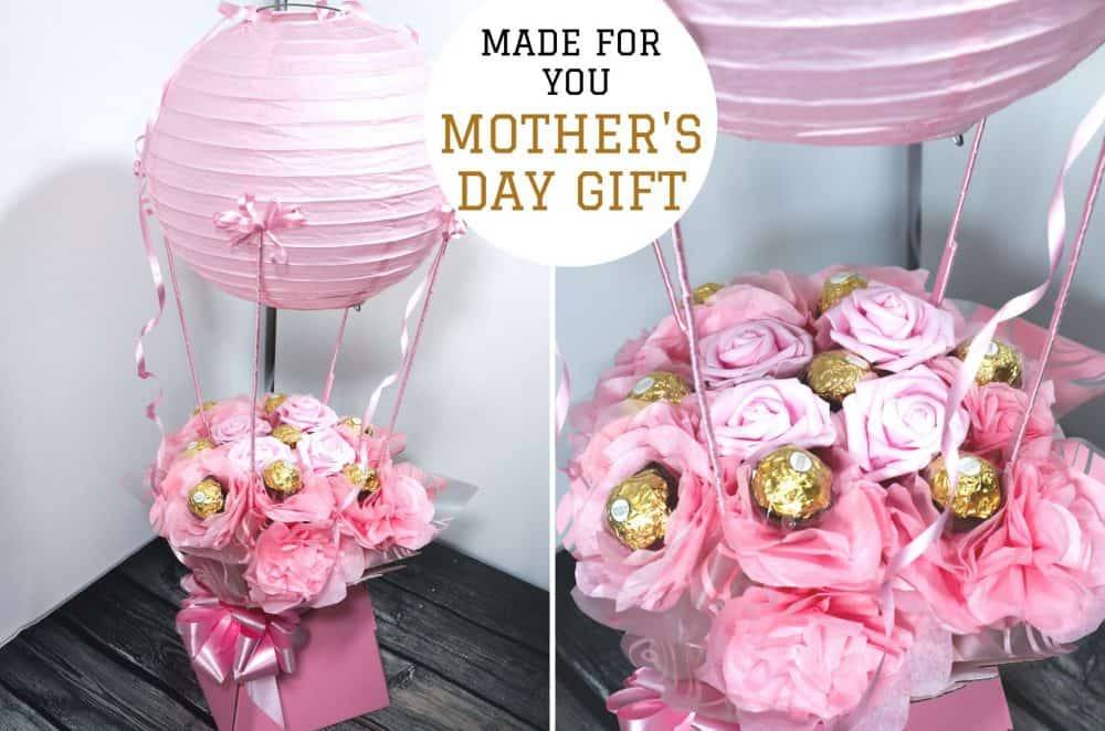 Mother's Day gift - Hot Air balloon with sweets and flowers