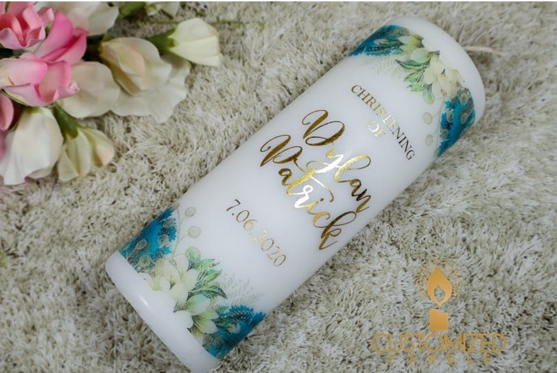 Gold Foil Christening candle – Blue flowers