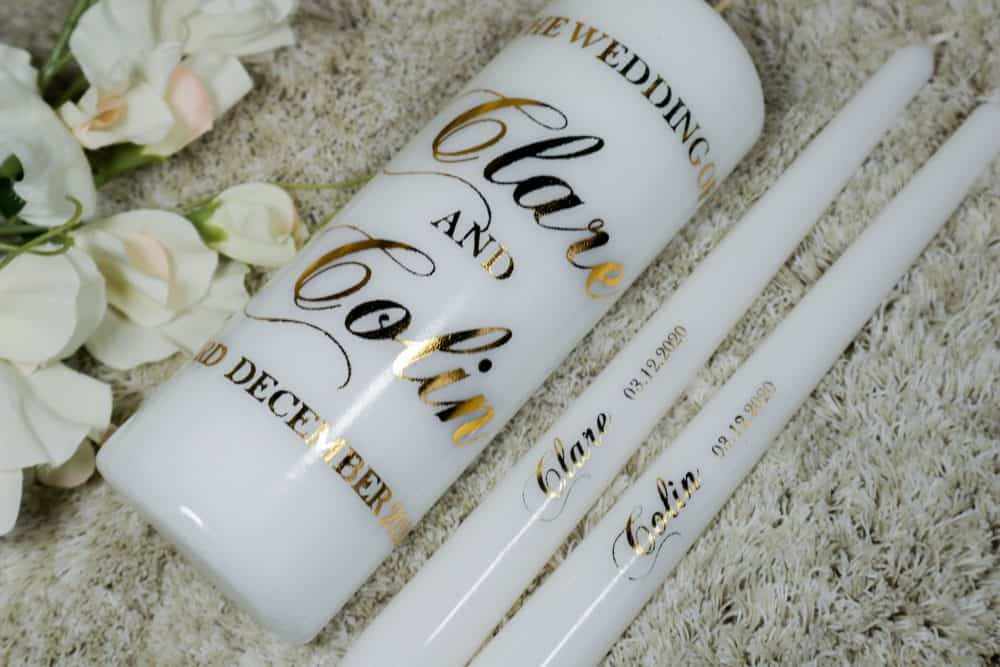 Gold Wedding candles. Classic style