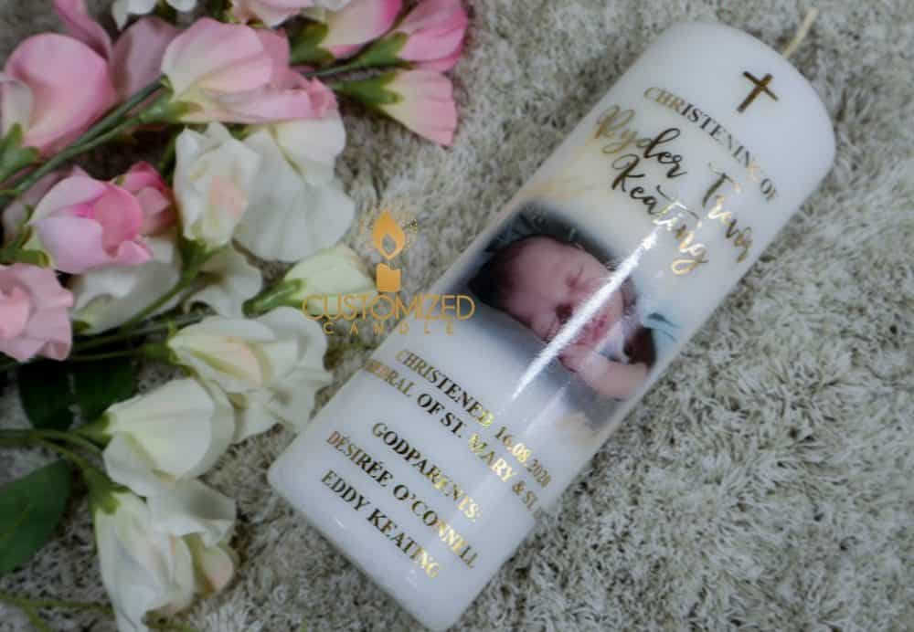 Christening candle with photo & gold letters