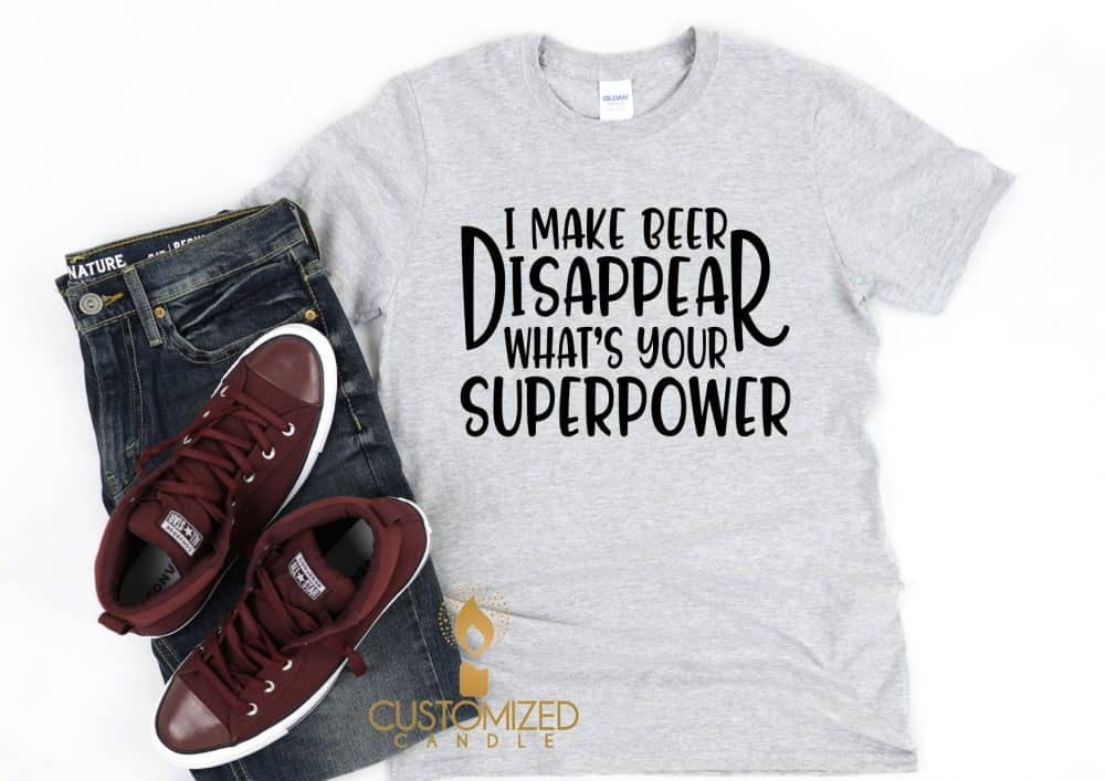 Mens superpower Tshirt – I make beer disappear